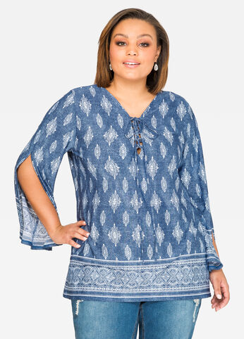 Split Sleeve Paisley Tunic