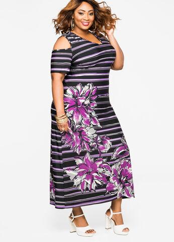 Floral Stripe Cold Shoulder Maxi Dress