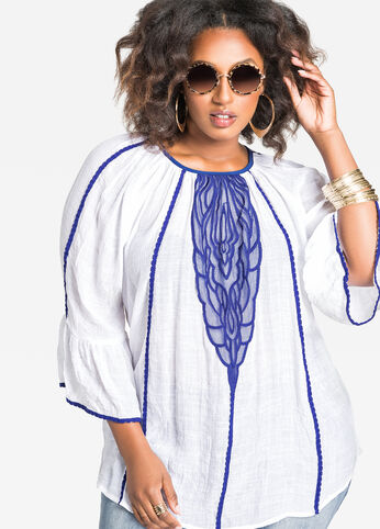 Bell Sleeve Blouse with Applique Front White - Tops