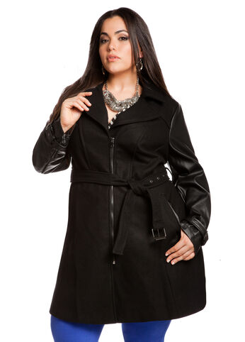 Faux Leather Sleeve Wool Coat
