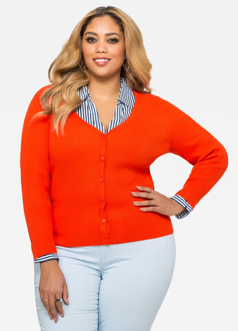 Citrus Ribbed V-Neck Cardigan