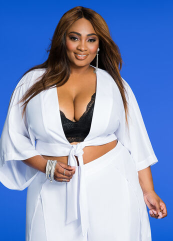 Kimono Sleeve Tie Front Cropped Blouse