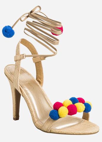 Lace-Up Pom Open Toe Sandal - Wide Width