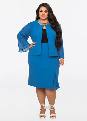 Pleat Detail Pencil Skirt Victoria Blue - Bottoms