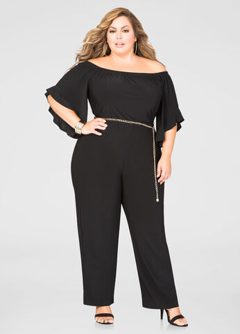 Off-Shoulder Chain Belt Jumpsuit