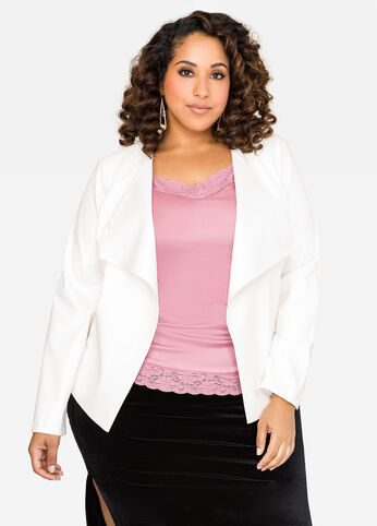 Cascade Open Front Faux Leather Jacket