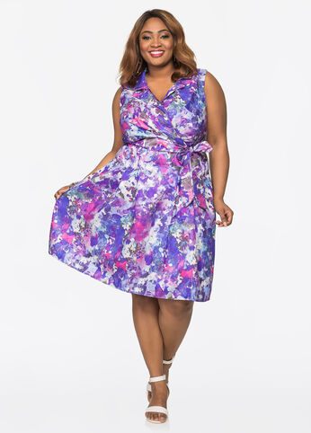 Abstract Watercolor Print Dress
