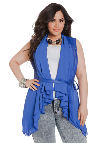 Faux Leather Flutter Vest