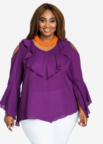 Ruffle Front Cold Shoulder Peasant Blouse Plum - Tops