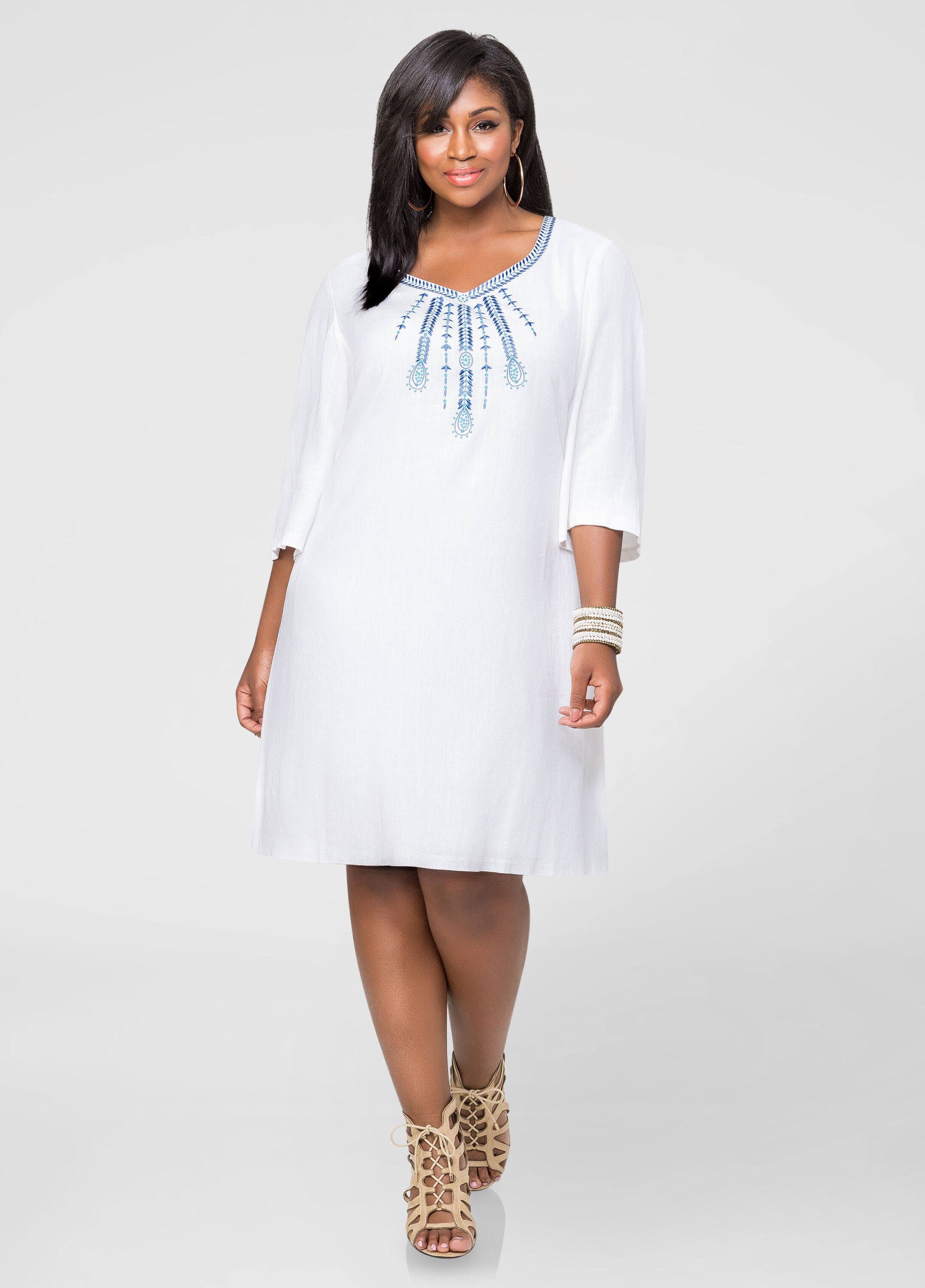 Linen Embroidered Tunic Dress-Plus Size Dresses-Ashley Stewart-010 ...