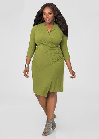 Faux Wrap Side Zip Dress
