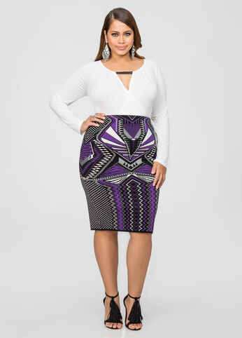 Bodycon Knit Jacquard Pencil Skirt
