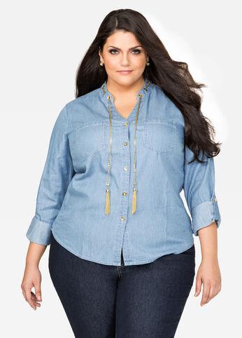 Denim Chain Tassel Button Shirt