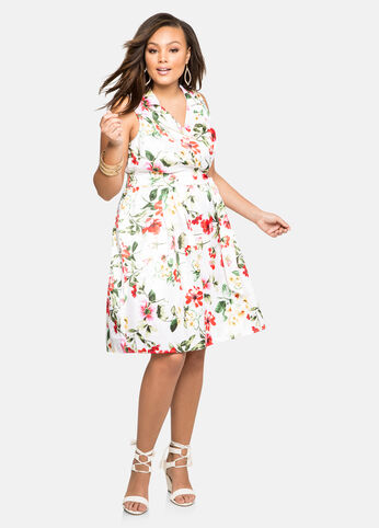 White Floral Sateen Belted Dress