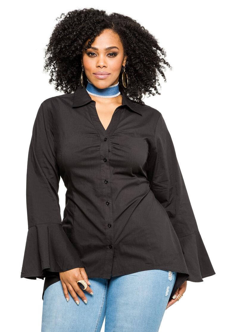 Plus size sharkbite bell sleeve shirt 035 f3409c for Bell bottom sleeve shirt