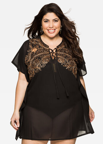 Embroidered Leaf Swim Cover-Up Black - Clearance