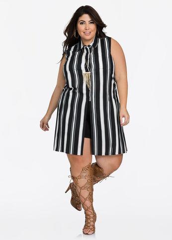 Side Slit Striped Sleeveless Tunic 402009960161