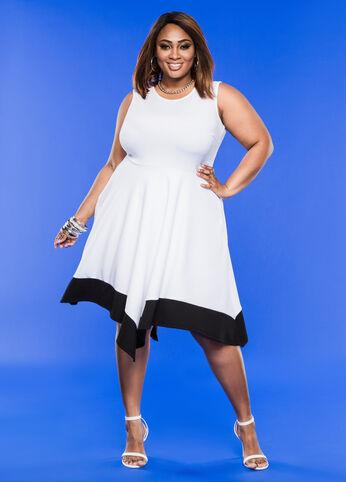 Colorblock Hanky Hem A-Line Dress White Black - Dresses