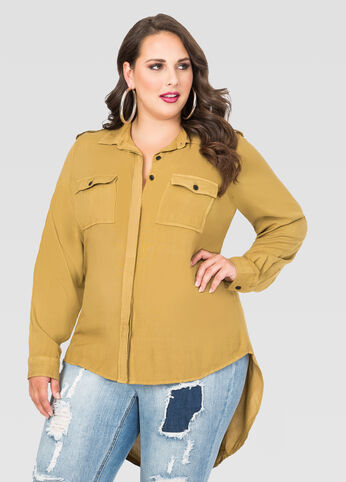 Extended Back Military Shirt