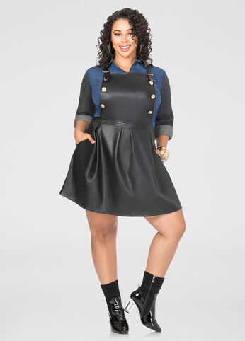 Faux Leather Overall Skater Dress