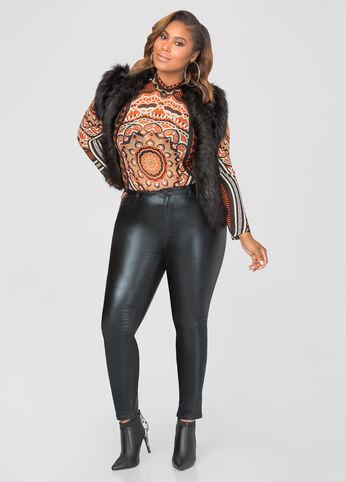 Coated Metallic Skinny Jeans