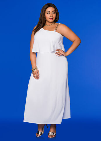 Chain Shoulder Popover Maxi Dress White - Dresses