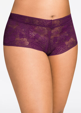 Purple Lace Boyleg Panty - Intimates