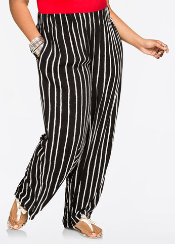 Striped Crinkle Gauze Palazzo Pant