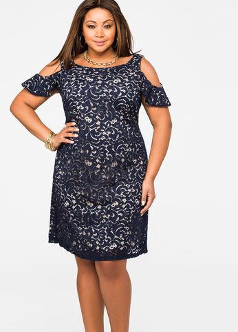 Lace Overlay Cold Shoulder Dress