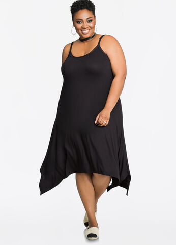 Solid Hanky Hem Tank Dress