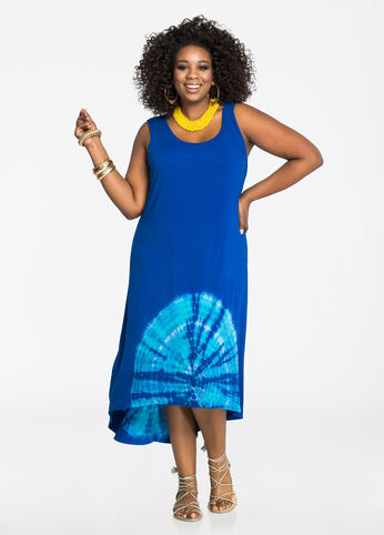 Tie Dye Hem Hi-Lo Maxi Dress
