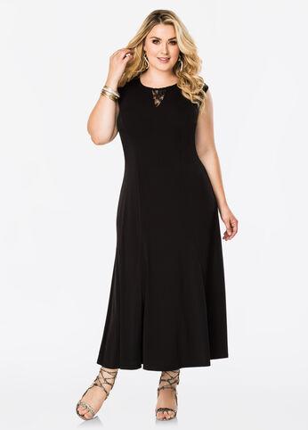 Lace Inset Maxi Dress Black - Dresses