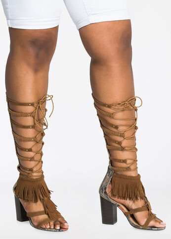 Strappy Gladiator with Fringe - Wide Width