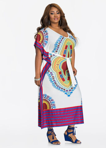 Flutter Sleeve Belted Dashiki Kaftan Dress