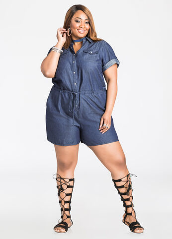 Snap Front Chambray Romper