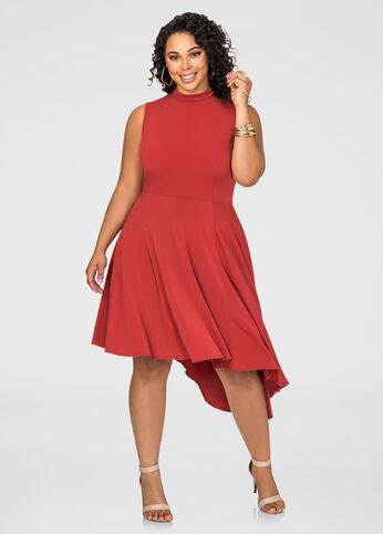 Mock Neck Asymmetrical Dress