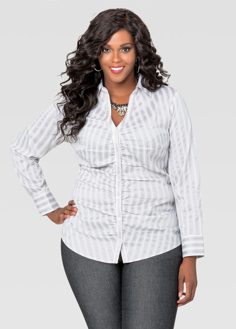 Striped ruched v neck button front shirt plus size tops for V neck button up shirt