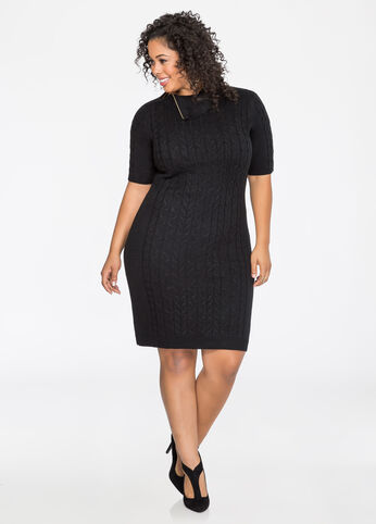 Zip Collar Cable Sweater Dress