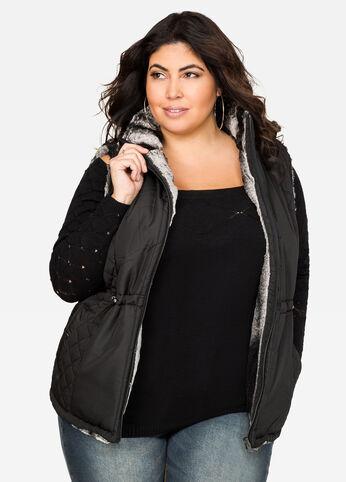 Quilted Faux Fur Reversible Vest