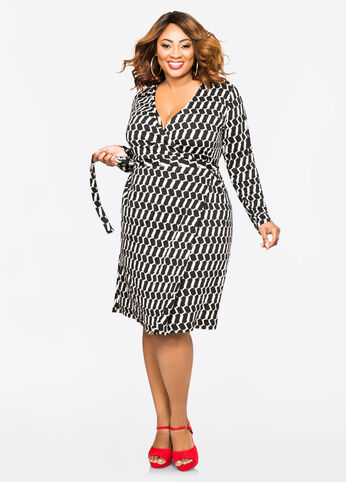 Belted Geo Print Wrap Dress Black White - Dresses