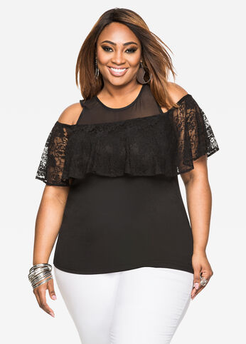 Lace Ruffle Cold Shoulder Top Black - Tops