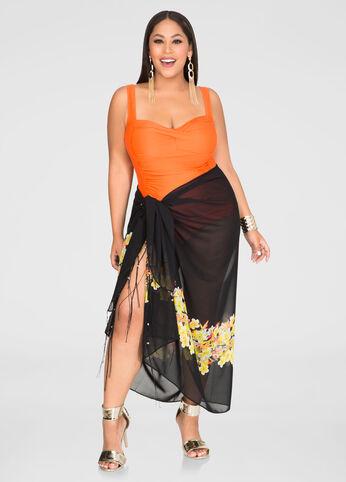 Tropical Print Sarong Wrap
