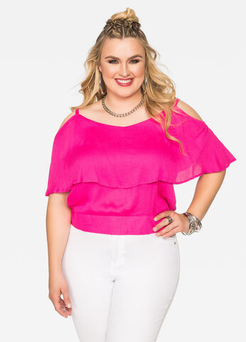 Ruffle Cold Shoulder Crop Top 402009847660