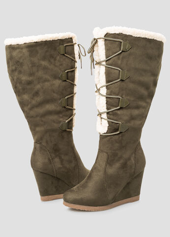 Shearling Lined Tall Boot - Wide Calf, Wide Width Olive Night - Shoes