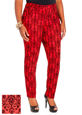 Red Skinny Baroque Denim Pants