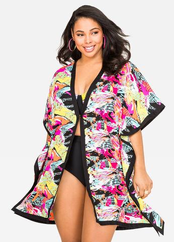 Splatter Kimono Swim Cover-Up