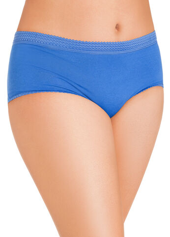 Blue Full-Coverage Cotton Briefs