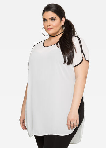 Piped High Slit Tunic Tee