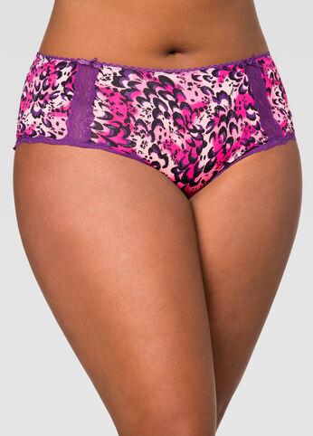 Lace Trim Microfiber Hipster Panty