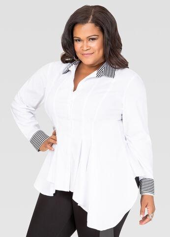 Contrast Stripe Peplum Shirt